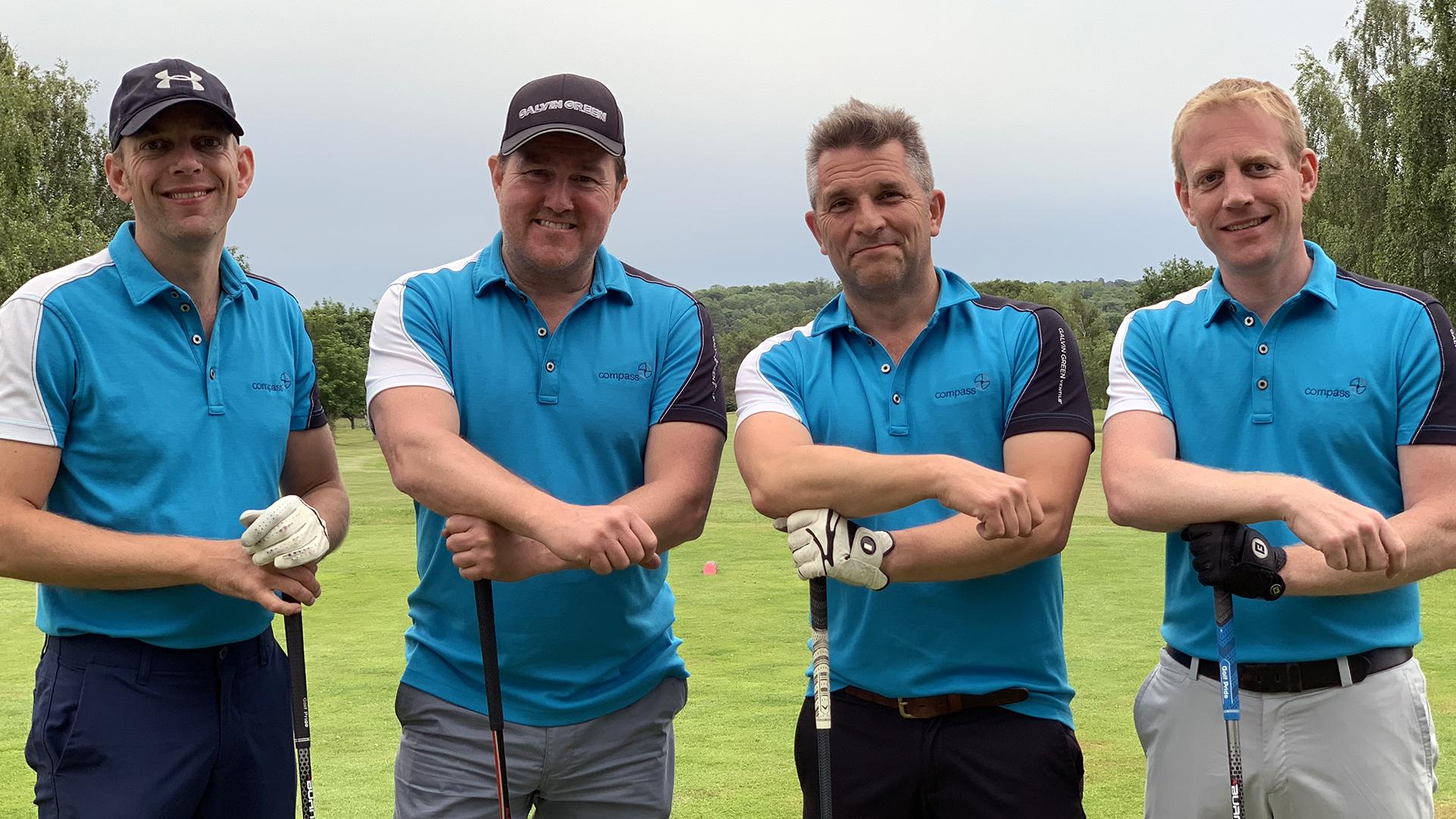 Mark, Danny, David & Mark with Golf Clubs